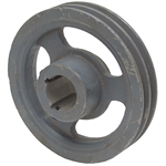 6.5 Dia 1.4375 Bore 2 Groove Cast Iron Pulley 3/8 Belt