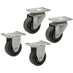 "3"" x 1-3/8"" Plate Caster Set 2 Swivel 2 Rigid"