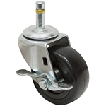 3 x 1-1/4 Grip Swivel Stem Caster w/ Wheel Lock