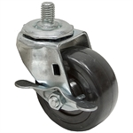 3x1-1/4 Threaded Swivel Stem Caster w/ Friction Brake Solid Soft Rubber\Nzinc Coated Frame