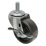 "3x1-1/4 Threaded Stem Caster w/Friction Brake Solid Polypropylene Zinc Plated Frame 1"" Stem Length"