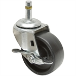 3x1-1/4 Grip Ring Swivel Stem Caster w/Brake Solid Polypropylene