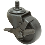 "3x1-1/4 Threaded Swivel Caster w/Rollock Brake Solid Polypropylene Black Oxide Frame 3/4"" Stem"