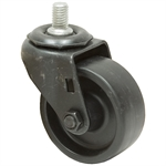 3x1-1/4 Threaded Swivel Stem Caster Solid Polypropylene Black Oxide Frame