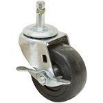 3x1-1/4 Grip Ring Swivel Stem Caster w/Brake Solid Soft Rubber
