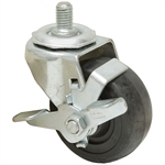"3x1-1/4 Threaded Swivel Stem Caster w/Rollock Brake Solid Soft Rubber Zinc Coated Frame 3/4"" Stem"