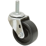 "3x1-1/4 Threaded Swivel Stem Caster Solid Polypropylene Zinc Coated Frame 1.5"" Stem Length"
