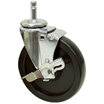 5x1 Swivel Grip Ring Stem Caster w/Brake