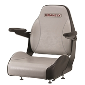 Two Piece Gray & Black High Back Mower Seat Gravely Logo