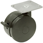 2-7/8x1/2 Albion Dual Wheel Swivel Plate Caster w/Brake