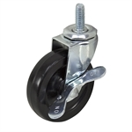 3x13/16 Colson Thread Stem Swivel Caster w/Brake