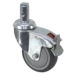 3-15/16 x 1-1/4 Rhombus Swivel Stem Caster w/Brake & Swivel Lock