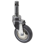 "5"" x 1-1/4"" Medcaster Swivel Round Stem Caster w/Total Brake HC05PYP125TLCL01"