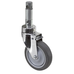"5"" x 1-1/4"" Medcaster Swivel Round Stem Caster w/ Total Brake HC05RPP125TLCL01"