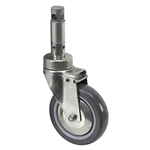"5"" x 1-1/4"" Medcaster Swivel Round Stem Caster w/Total Brake HS05PYP125DTCL01"