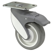 "4"" x 1-1/4"" Medcaster Swivel Plate Caster w/Total Brake MQ04PYP125TLTP01"