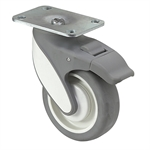 "4"" x 1-1/4"" Medcaster Swivel Plate Caster w/ Total Brake MQ04TPP125TLTP01"