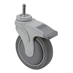 "5"" x 1-1/4"" Medcaster Swivel Grip Ring Caster w/ Directional Brake NG05QDP125DLGR01"