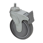 "5"" x 1-1/4"" Medcaster Swivel Threaded Stem Caster w/ Directional Brake NG05QDP125DLTS02"