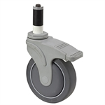"5"" x 1-1/4"" MEDCASTER SWIVEL EXPANDING ADAPTER STEM CASTER W/ TOTAL BRAKE NG05QDP125TLXRZ4"