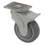 "4"" x 1-1/4"" Medcaster Swivel Plate Caster w/ Total Brake NG04QDP125TLTP01"