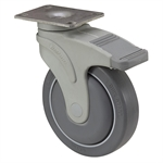 "5"" x 1-1/4"" Medcaster Swivel Plate Caster w/ Directional Brake NG05QDP125DLTP01"