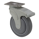 "5"" x 1-1/4"" Medcaster Swivel Plate Caster w/Total Brake NG05QDP125TLTP01"