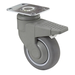 "4"" x 1-1/4"" Medcaster Swivel Plate Caster w/Total Brake PD04RPP125TLTP01"