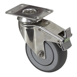 "4"" x 1-1/4"" Medcaster Swivel Plate Caster w/Directional Brake 902255"