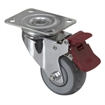 "3"" x 1-1/4"" Medcaster Swivel Plate Caster w/ Total Brake 900808"