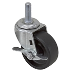 "3"" x 1-1/4"" Faultless Swivel Threaded Stem Caster w/ Wheel Brake 25934"