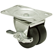 "2"" Dual Wheel Swivel Plate Caster w/Brake"