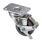 "3"" x 1-1/4"" Albion Swivel Plate Caster w/ Wheel Brake 02XS03031SF"