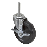 "4"" x 15/16"" Faultless Swivel Threaded Stem Caster w/ Wheel Brake 30778"