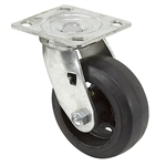 "5""x2"" Rubber Tire On Cast Iron Wheel Swivel Plate Caster"