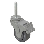 "3"" x 1-1/4"" Medcaster Swivel Threaded Stem Caster w/ Total Brake NG03QDP125TLTS22"