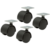 "1.5x1/4"" Dual Wheel Swivel Plate Caster Set Of 4"