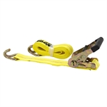 3000 Pound Capacity 15 Foot Ratchet Tiedown Strap With J Hooks