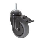 "3"" x 1"" TENTE SWIVEL BOLT-HOLE CASTER W/ TOTAL BRAKE, THREADGUARDS"