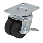 "2"" x 7/8"" TWIN WHEEL SWIVEL PLATE CASTER W/BRAKE"