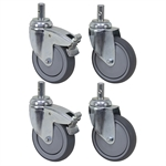 5 X 1-1/4  Round Stem Swivel Caster Set 880 lb capacity