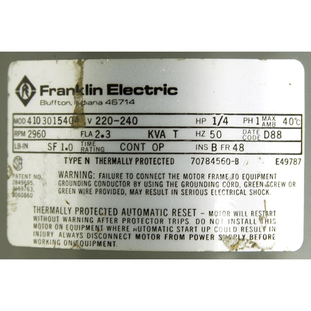 d0b9fd28da8 1/4 HP 2960 RPM 220-240 Volt AC Motor Franklin Electric 4103015404 ...