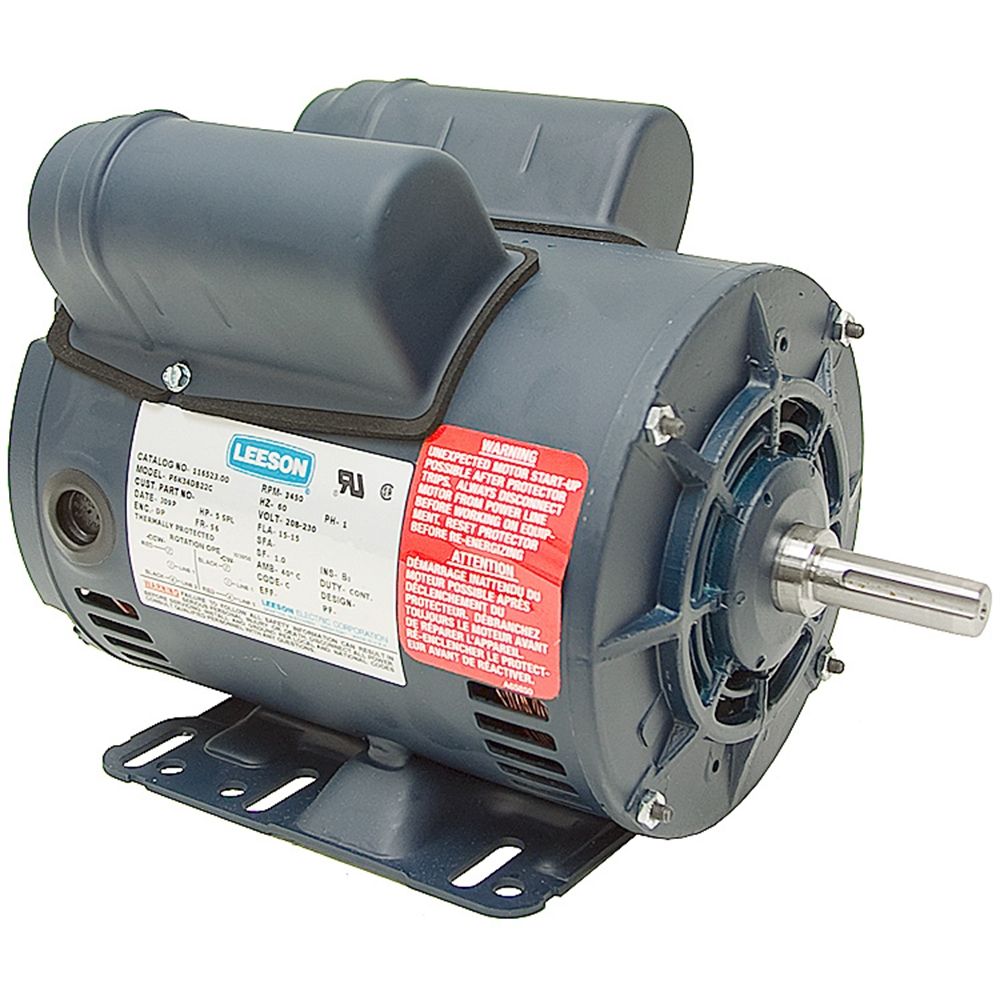 5 Hp Special Duty 230 Vac 3450 Rpm Leeson Air Compressor Motor Ac Motors Base Mount Ac