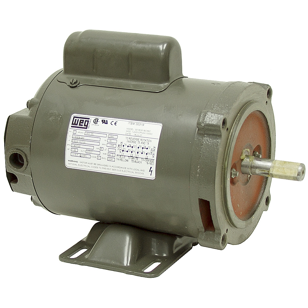1 3 hp 1800 rpm weg motor 56c odp ac motors base mount for Weg motors technical support