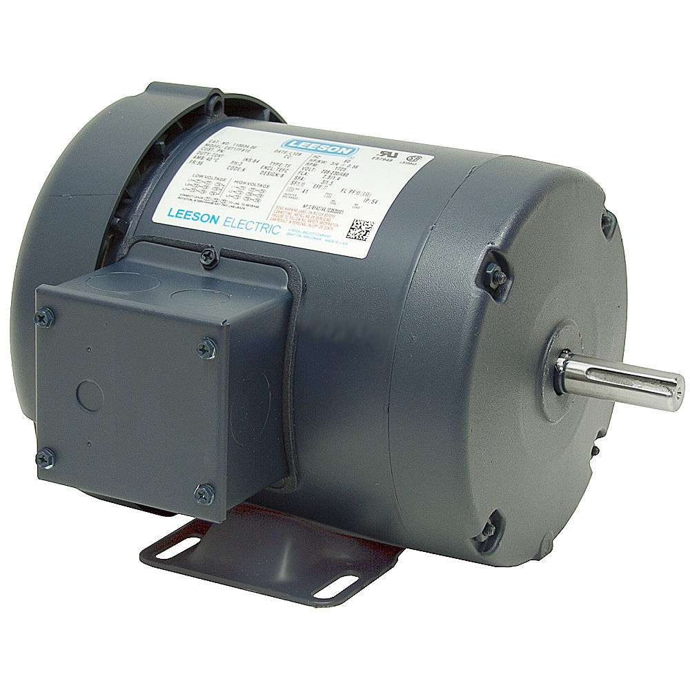 1 5 hp 1800 rpm 230 460 vac 3ph 56h leeson motor 3 phase for 3 hp single phase electric motor