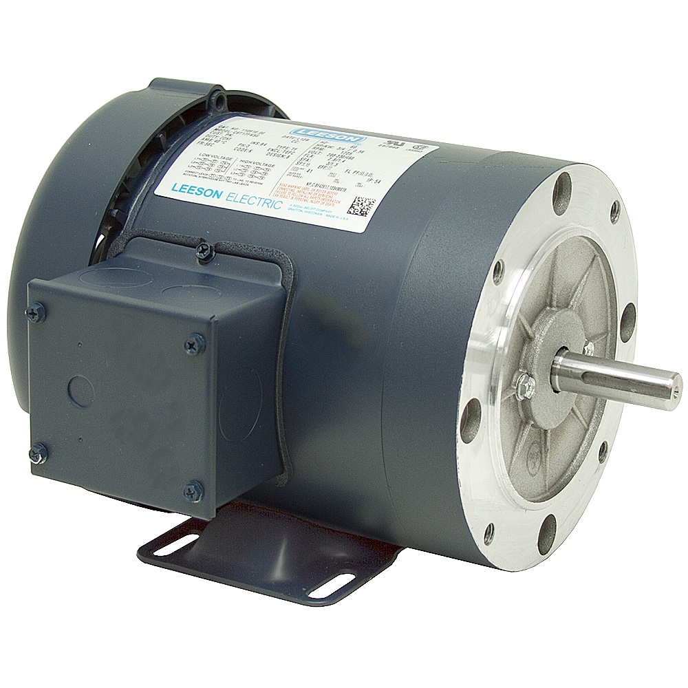 1 5 hp 1800 rpm 230 460 vac 3ph 56c leeson motor 3 phase for 5 hp single phase motor
