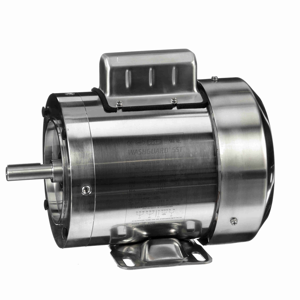 1/2 HP 3600 RPM 115/230 Volt AC Leeson Washguard 191474 00 Stainless Steel