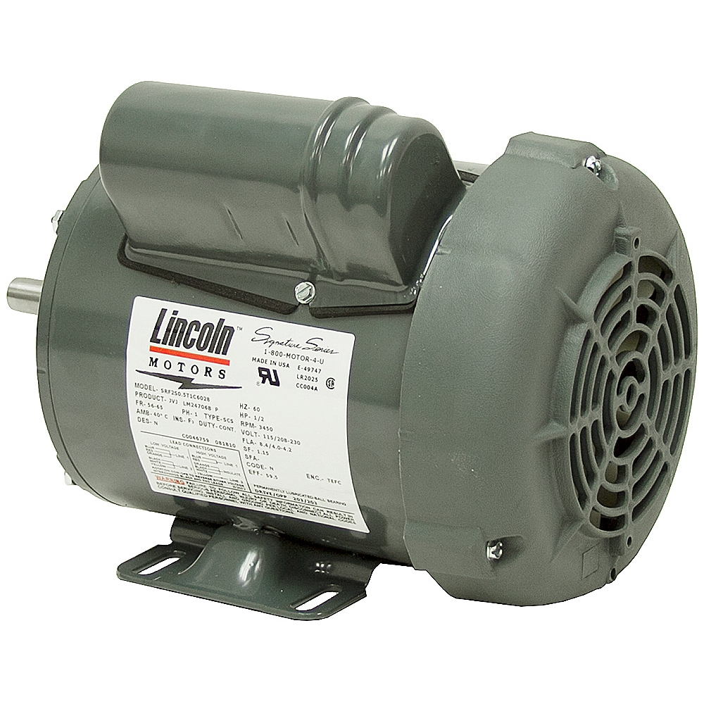 1 2 hp 3450 rpm 115 230 vac motor lincoln motors lm24706 for Half horsepower electric motor