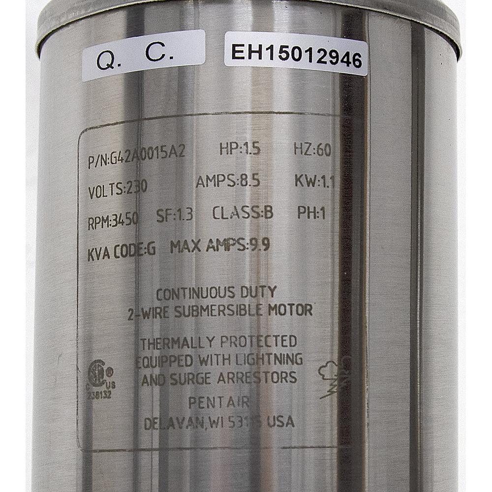 1-1/2 HP 3450 RPM 230 Volt AC Pentair Submersible Well Pump Electric Motor