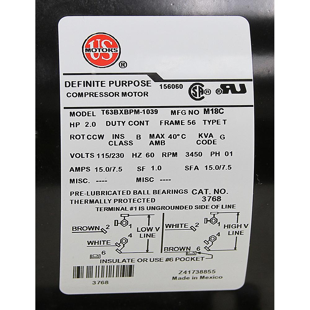 2 HP 3450 RPM 115/230 Volt AC Air Compressor Motor